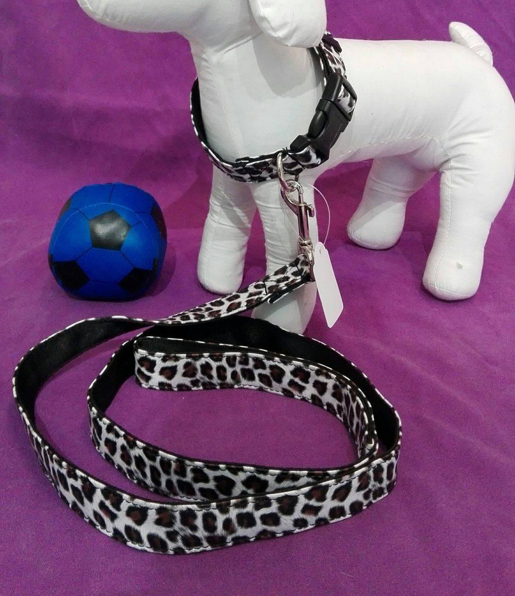 enssemble collier + laisse leopard